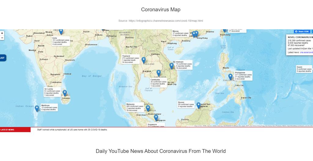 Koronavirus stránka s informacemi o viru